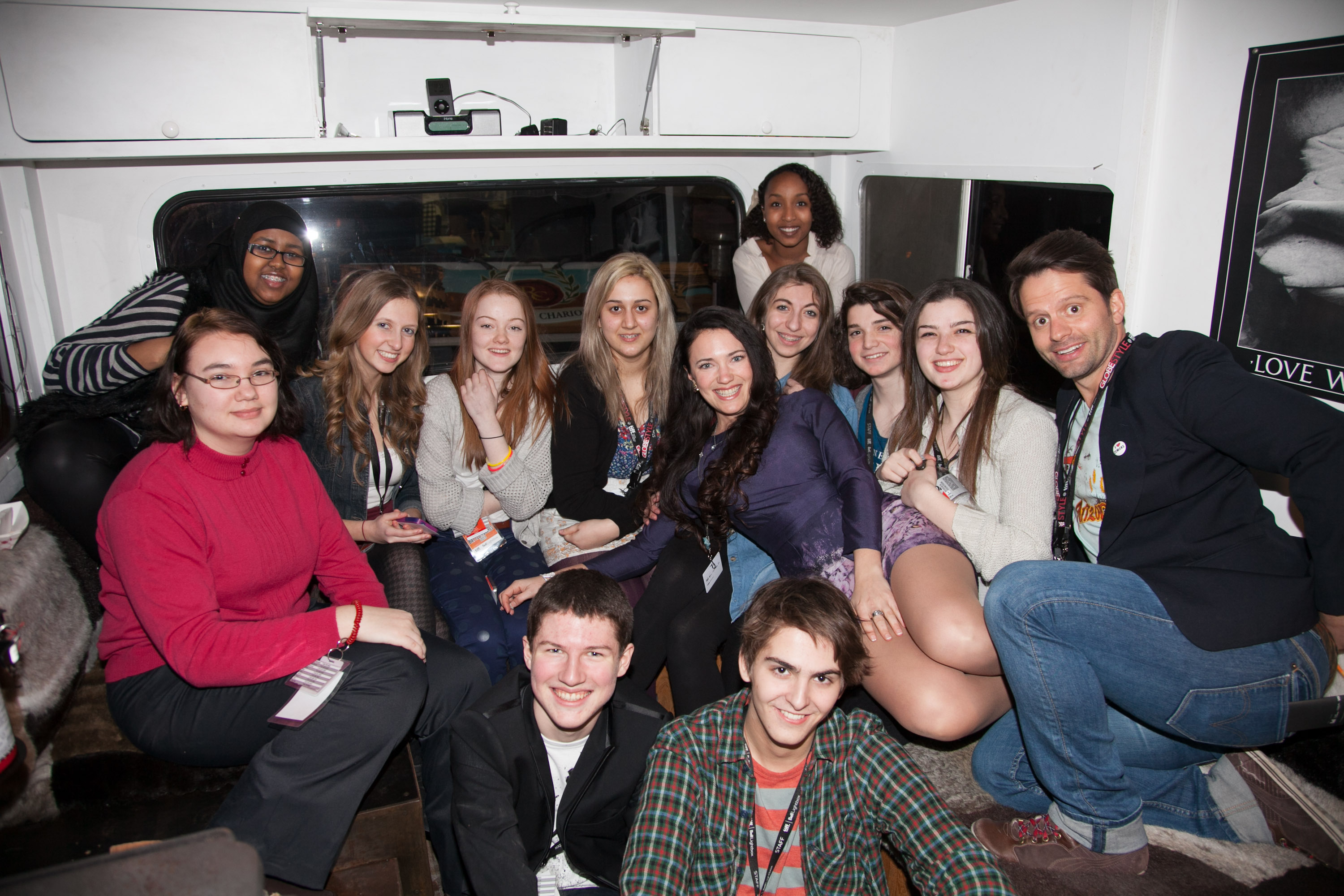 The Next Wave Film Committee and Wango Films Team (April Mullen and Tim Doiron), inside the Bloody Winnebago at the Opening Night Party for the TIFF Next Wave Film Festival.  Photo by: Sarjoun Faour, WireImage/Getty for TIFF