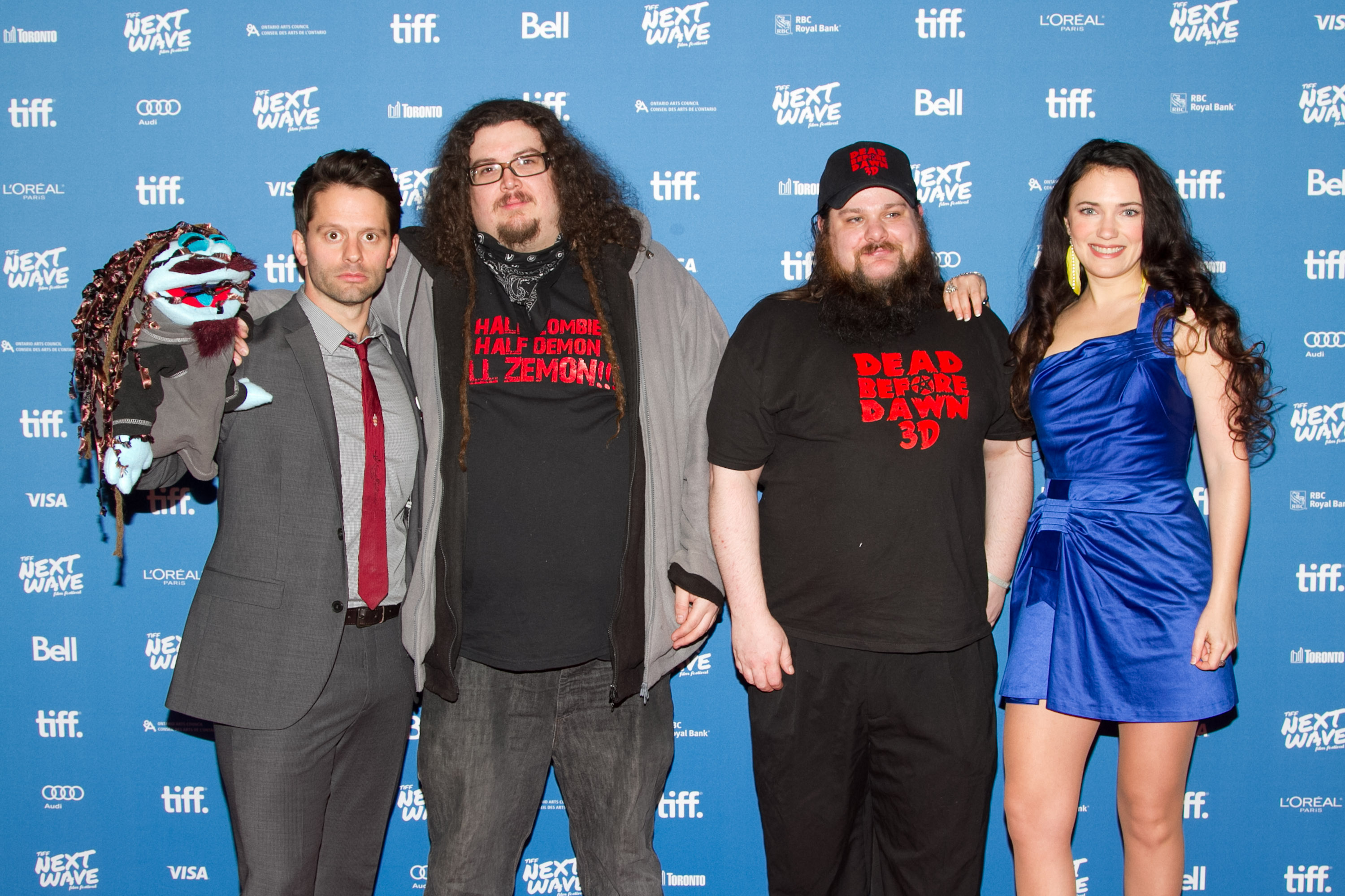 Left to Right, Tim Doiron (Actor/Writer) with Hippie Zemons Kent Churly and Kevin Jennings and April Mullen (Director/Actor) at the North American Premiere of Dead Before Dawn 3D.  TIFF Next Wave Film Festival.  Photo by: Sarjoun Faour, WireImage/Getty for TIFF