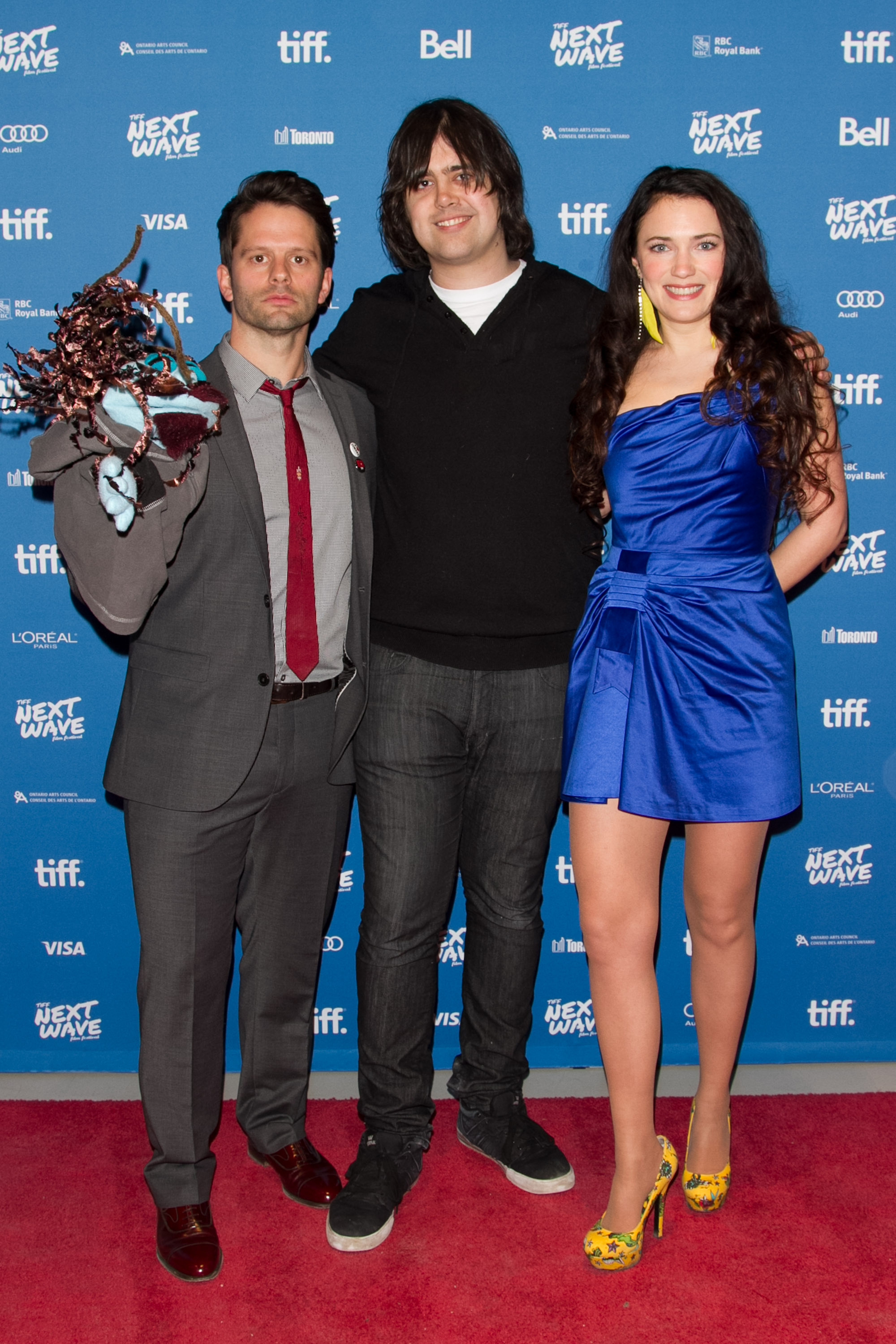 Tim Doiron (Actor/Writer) with Editor Luke Higginson and April Mullen (Director/Actor) at the North American Premiere of Dead Before Dawn 3D.  TIFF Next Wave Film Festival.  Photo by: Sarjoun Faour, WireImage/Getty for TIFF