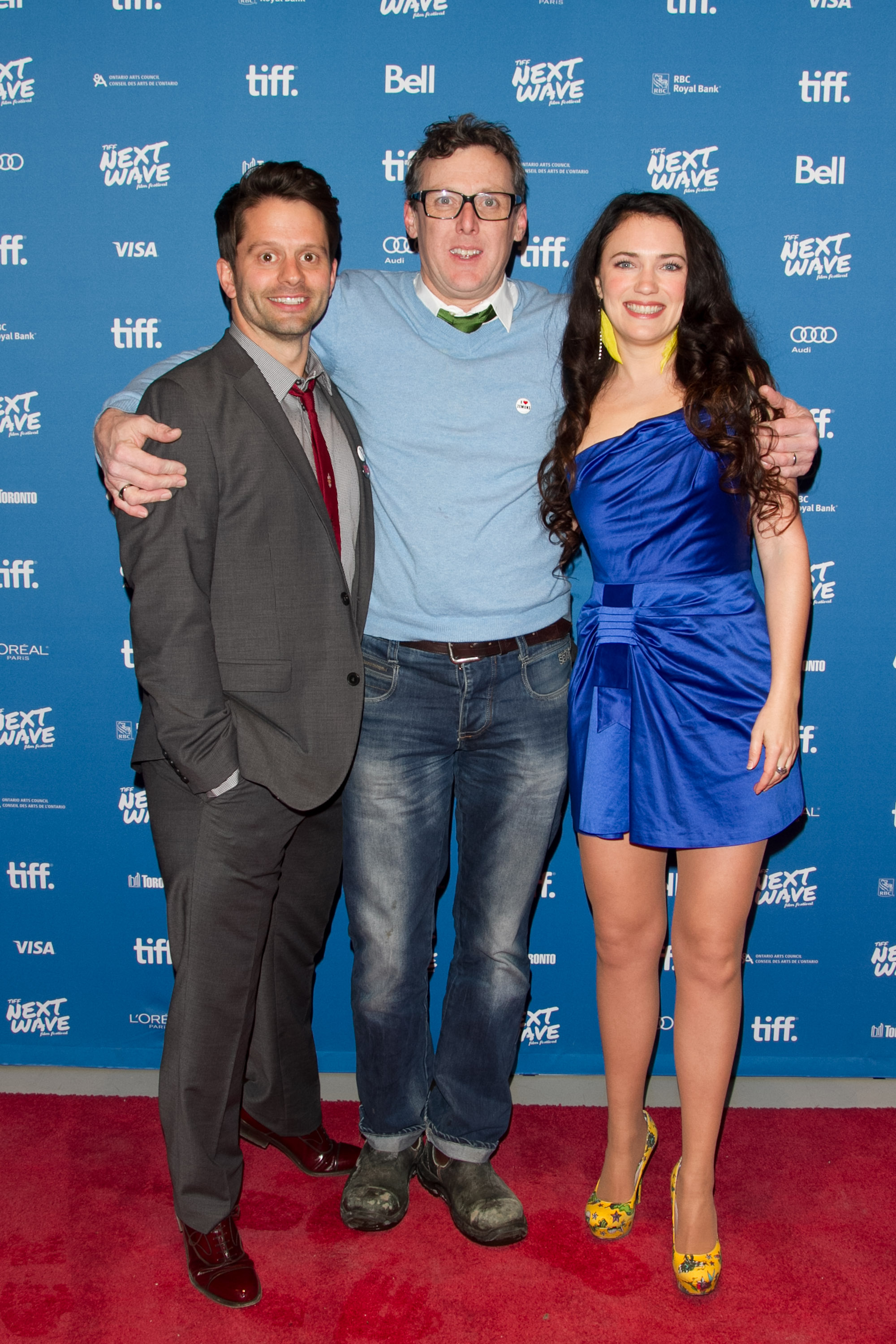 Tim Doiron (Actor/Writer) with 3D Stereographer Jeff Packer and April Mullen (Director/Actor) at the North American Premiere of Dead Before Dawn 3D.  TIFF Next Wave Film Festival.  Photo by: Sarjoun Faour, WireImage/Getty for TIFF