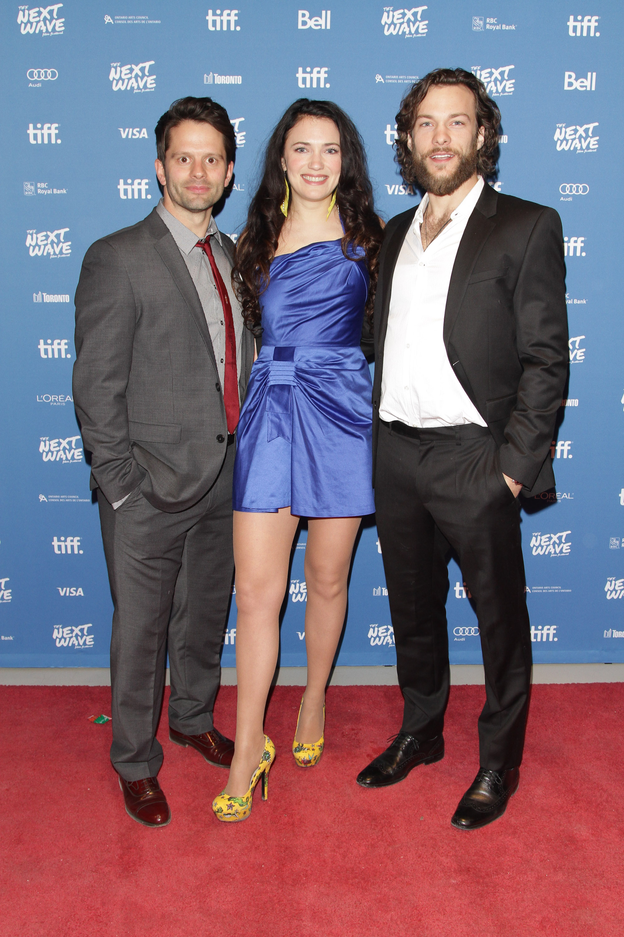 Stars Tim Doiron, April Mullen and Kyle Schmid arrive at the Tiff Bell Lightbox for the North American Premiere of Dead Before Dawn 3D which was closing night of the Tiff Next Wave Film Festival.  Photo by: Sarjoun Faour, WireImage/Getty for TIFF